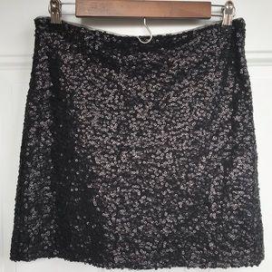 Bisou Bisou Black Sequin Mini Skirt EUC